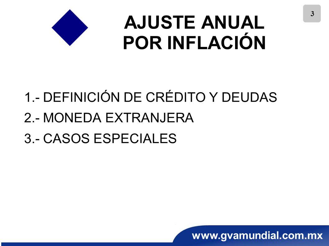 www.gvamundial.com.mx 14 RECOMENDACIONES PARA EL AJUSTE INFLACIONARIO Depuración oportuna de todas las cuentas contables.