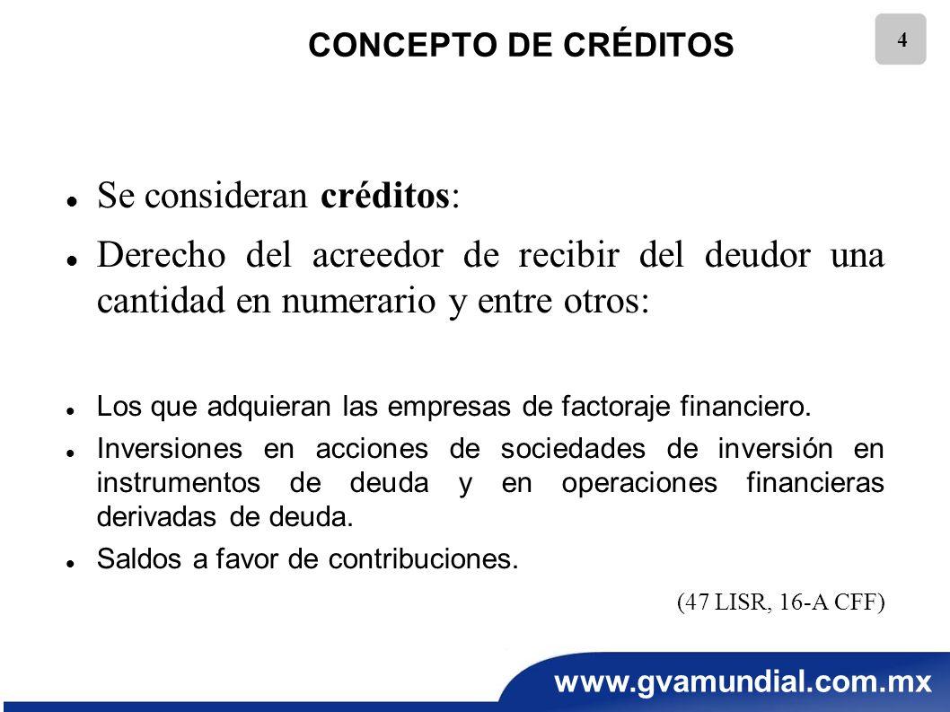 www.gvamundial.com.mx 4 CONCEPTO DE CRÉDITOS Se consideran créditos: Derecho del acreedor de recibir del deudor una cantidad en numerario y entre otro