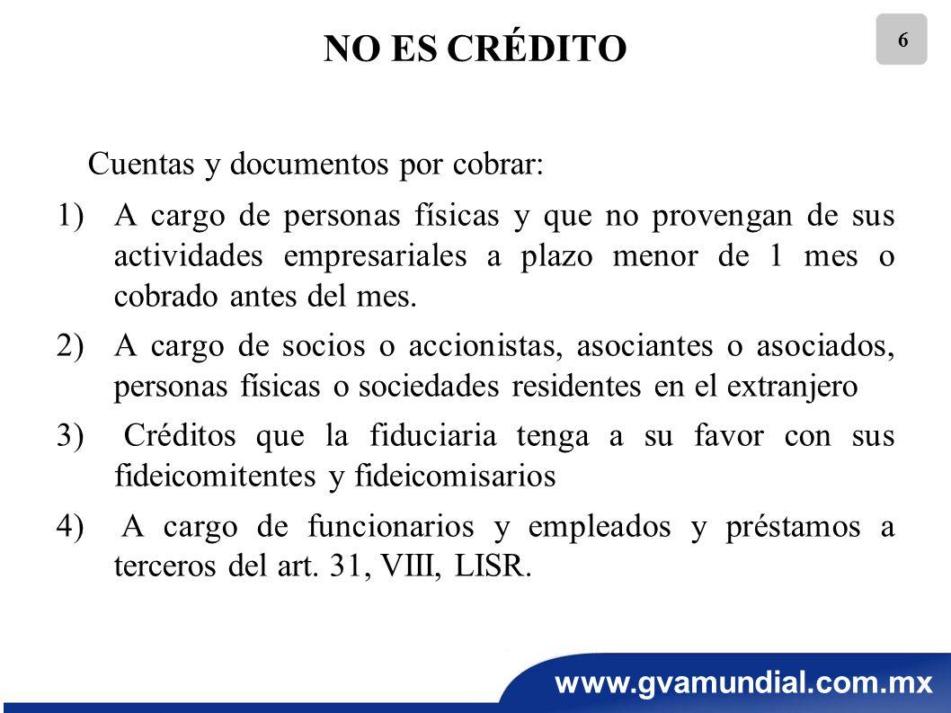 www.gvamundial.com.mx 17 RECOMENDACIONES PARA EL AJUSTE INFLACIONARIO En ningún caso, son deudas las originadas por partidas no deducibles de las fracciones I,VIII y IX del artículo 32, así como el monto de aquellas que excedan el límite deducible del primer párrafo de la fracción XXVI del mismo artículo.