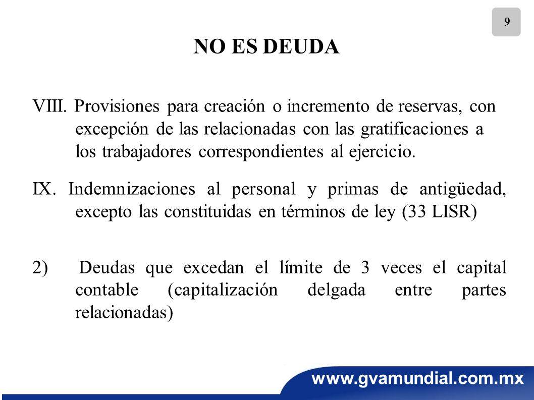 www.gvamundial.com.mx 9 NO ES DEUDA VIII. Provisiones para creación o incremento de reservas, con excepción de las relacionadas con las gratificacione