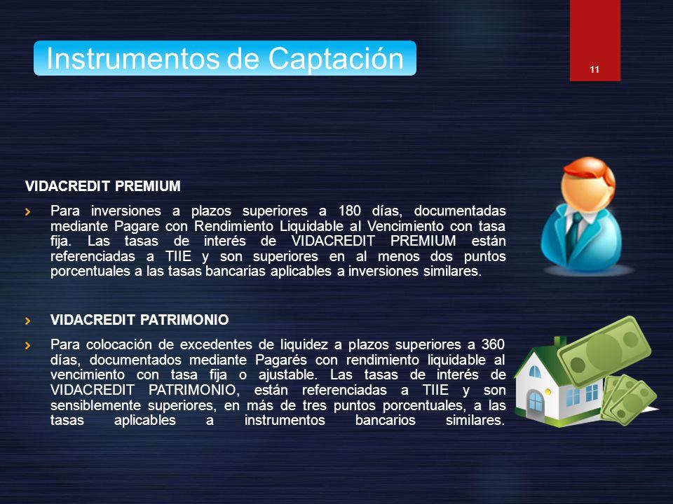 VIDACREDIT PREMIUM Para inversiones a plazos superiores a 180 días, documentadas mediante Pagare con Rendimiento Liquidable al Vencimiento con tasa fi