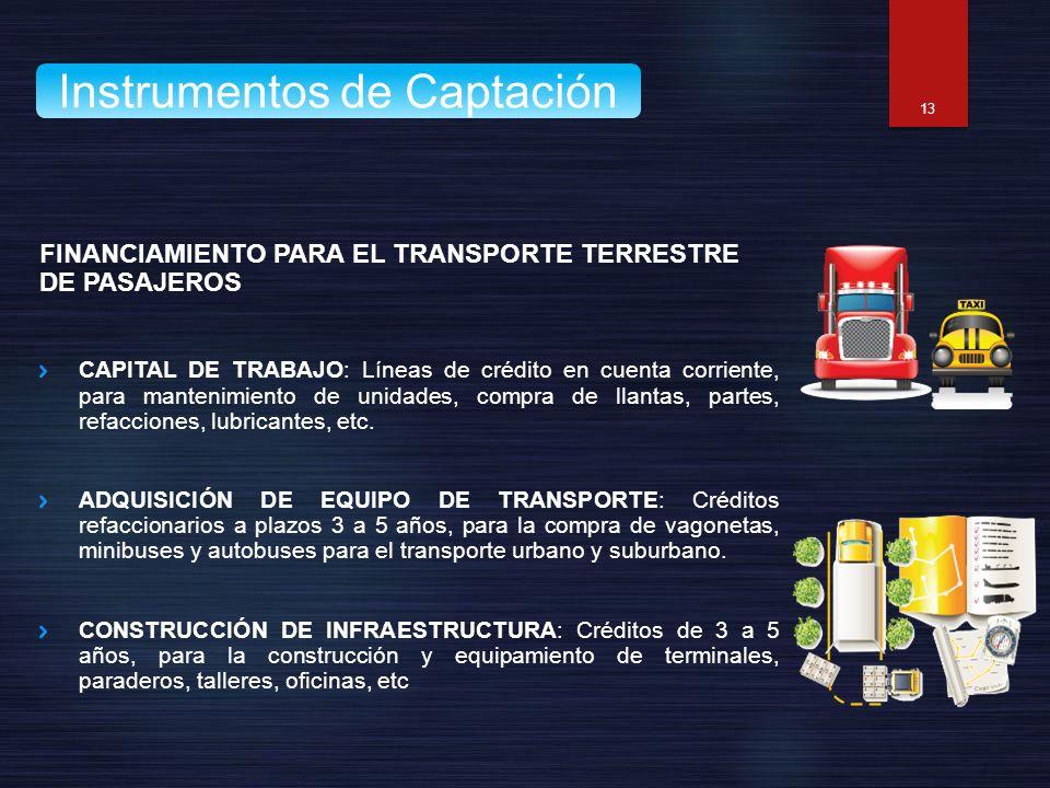 FINANCIAMIENTO PARA EL TRANSPORTE TERRESTRE DE PASAJEROS CAPITAL DE TRABAJO: Líneas de crédito en cuenta corriente, para mantenimiento de unidades, co