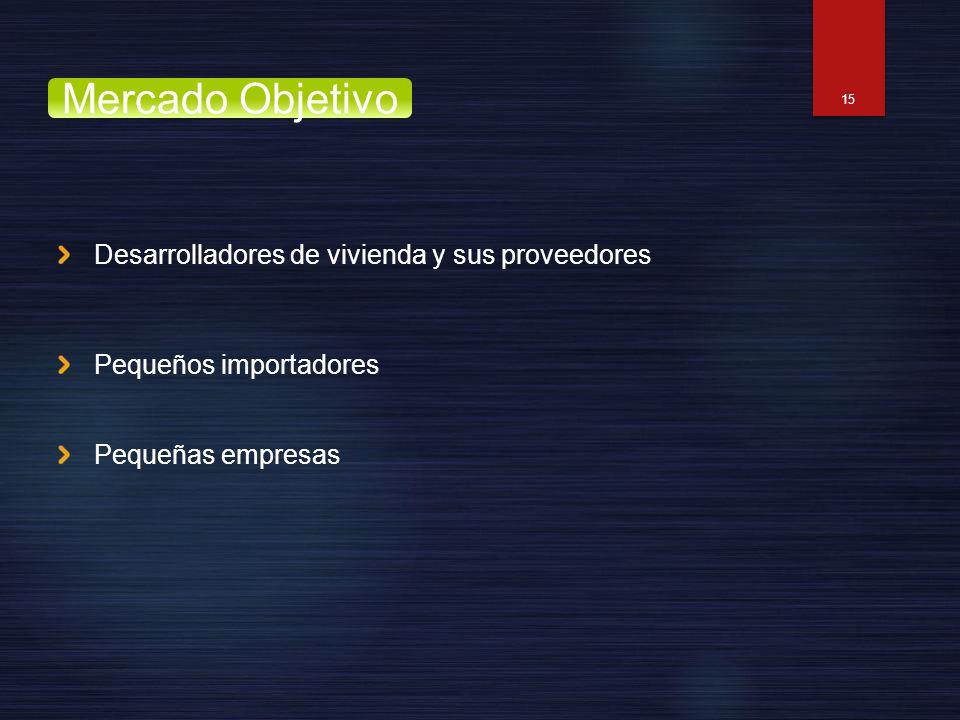 Desarrolladores de vivienda y sus proveedores Pequeños importadores Pequeñas empresas 15 Mercado Objetivo