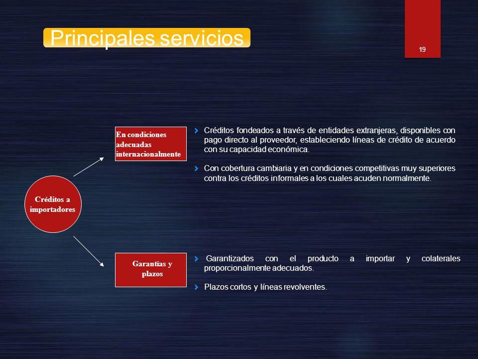19 Créditos a importadores En condiciones adecuadas internacionalmente Garantías y plazos Créditos fondeados a través de entidades extranjeras, dispon