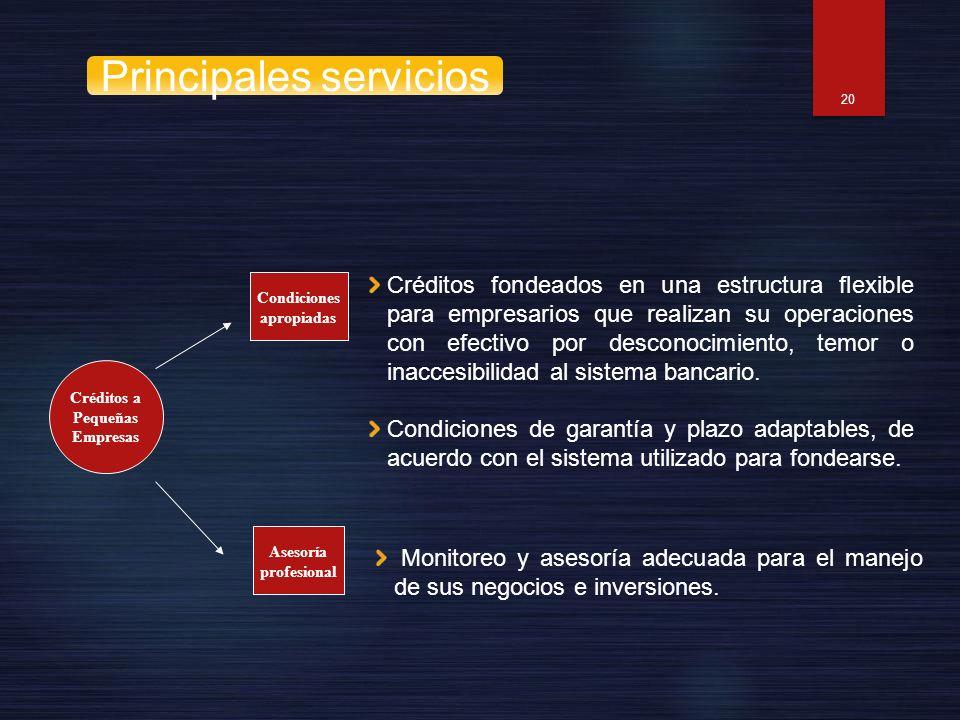 20 Créditos a Pequeñas Empresas Condiciones apropiadas Asesoría profesional Créditos fondeados en una estructura flexible para empresarios que realiza