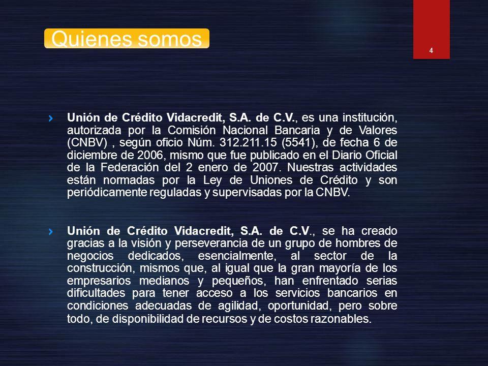Unión de Crédito Vidacredit, S.A. de C.V., es una institución, autorizada por la Comisión Nacional Bancaria y de Valores (CNBV), según oficio Núm. 312