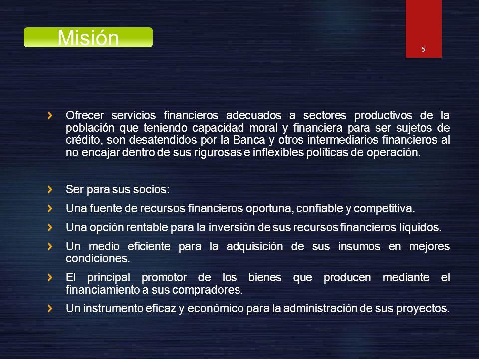 Ofrecer servicios financieros adecuados a sectores productivos de la población que teniendo capacidad moral y financiera para ser sujetos de crédito,