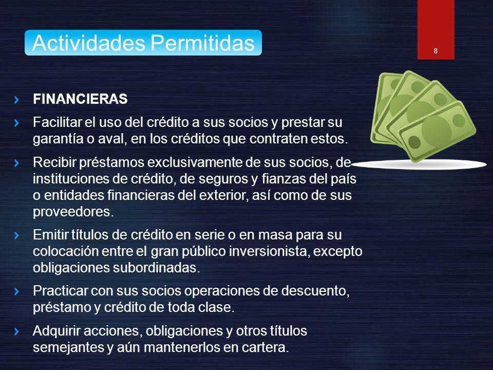 FINANCIERAS Facilitar el uso del crédito a sus socios y prestar su garantía o aval, en los créditos que contraten estos. Recibir préstamos exclusivame