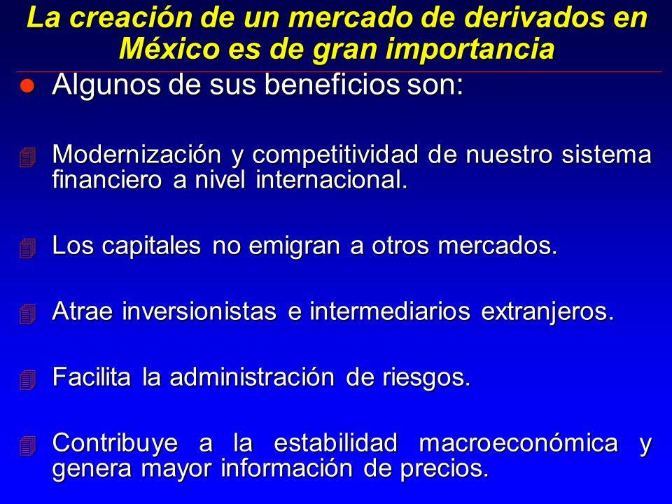 La creación de un mercado de derivados en México es de gran importancia l Algunos de sus beneficios son: 4 Modernización y competitividad de nuestro sistema financiero a nivel internacional.