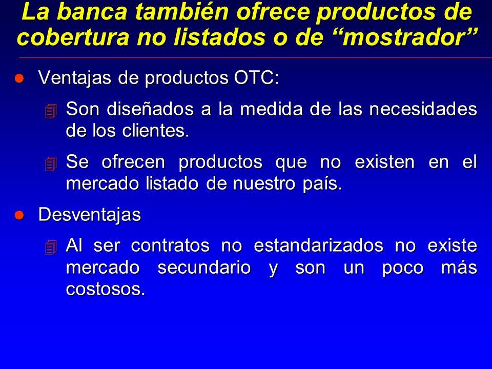 La banca también ofrece productos de cobertura no listados o de mostrador l Ventajas de productos OTC: 4 Son diseñados a la medida de las necesidades de los clientes.