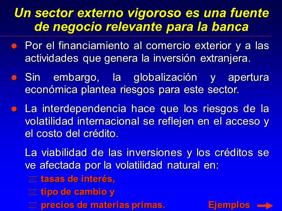 Un sector externo vigoroso es una fuente de negocio relevante para la banca l Por el financiamiento al comercio exterior y a las actividades que genera la inversión extranjera.