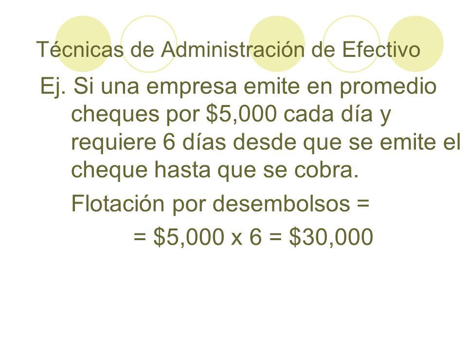Técnicas de Administración de Efectivo Ej. Si una empresa emite en promedio cheques por $5,000 cada día y requiere 6 días desde que se emite el cheque