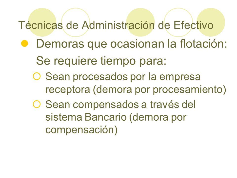 Técnicas de Administración de Efectivo Demoras que ocasionan la flotación: Se requiere tiempo para: Sean procesados por la empresa receptora (demora p