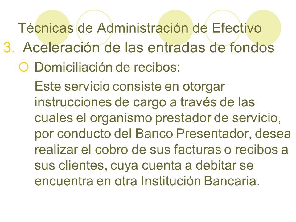 Técnicas de Administración de Efectivo 3.Aceleración de las entradas de fondos Domiciliación de recibos: Este servicio consiste en otorgar instruccion