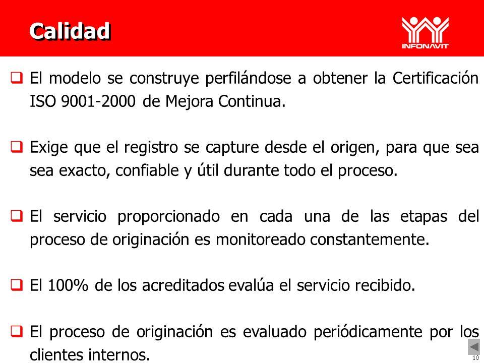 10 Calidad El modelo se construye perfilándose a obtener la Certificación ISO 9001-2000 de Mejora Continua.. Exige que el registro se capture desde el