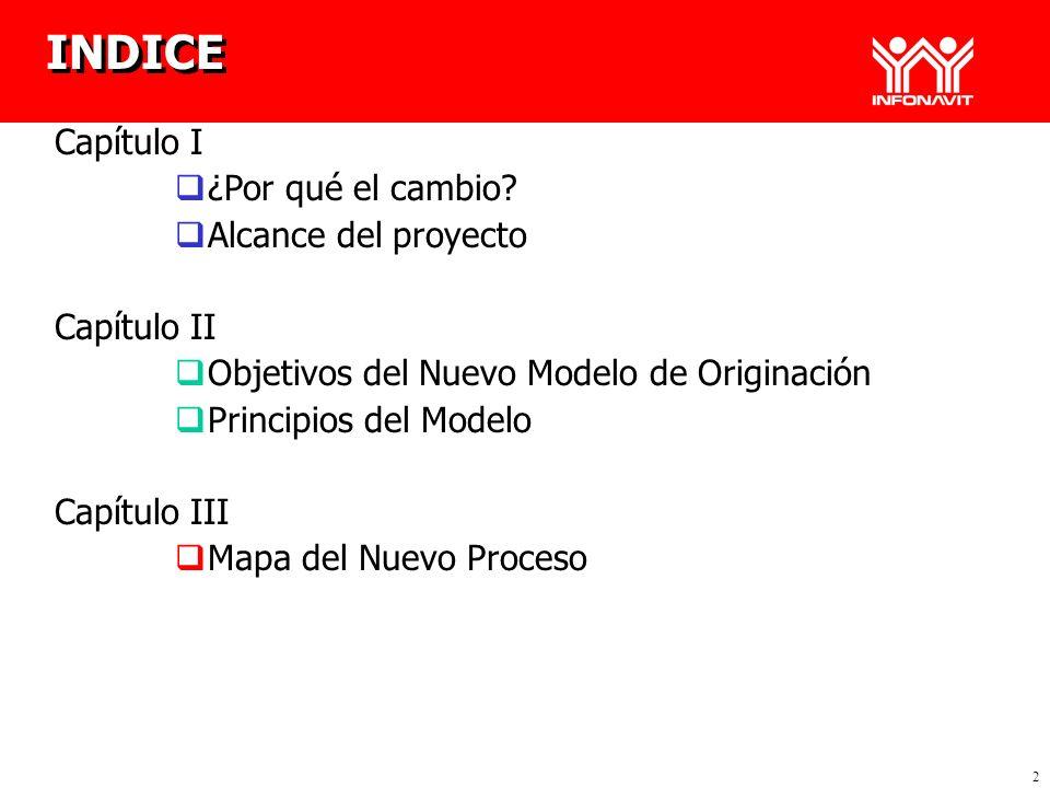 2 Capítulo I ¿Por qué el cambio? Alcance del proyecto Capítulo II Objetivos del Nuevo Modelo de Originación Principios del Modelo Capítulo III Mapa de
