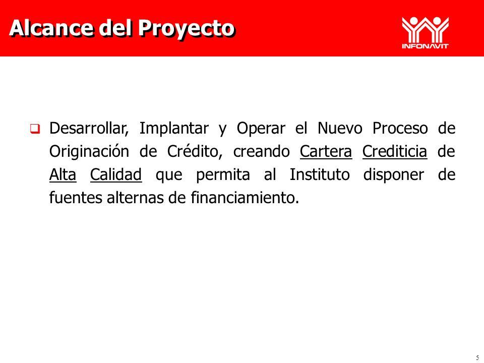 5 Alcance del Proyecto Desarrollar, Implantar y Operar el Nuevo Proceso de Originación de Crédito, creando Cartera Crediticia de Alta Calidad que perm