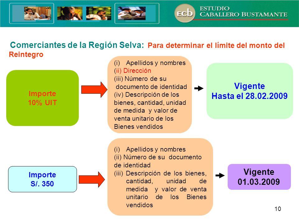 10 Monto para la Identificación del Adquirente o Usuario Importe 10% UIT Importe S/. 350 (i)Apellidos y nombres (ii) Dirección (iii) Número de su docu