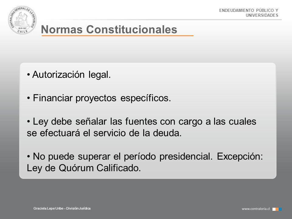 ENDEUDAMIENTO PÚBLICO Y UNIVERSIDADES Normas Constitucionales Graciela Lepe Uribe – División Jurídica Autorización legal. Financiar proyectos específi