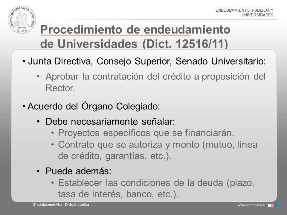 ENDEUDAMIENTO PÚBLICO Y UNIVERSIDADES Procedimiento de endeudamiento de Universidades (Dict. 12516/11) Graciela Lepe Uribe – División Jurídica Junta D