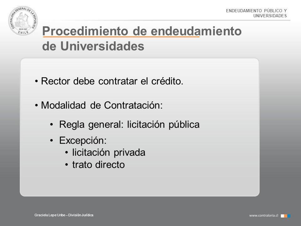 ENDEUDAMIENTO PÚBLICO Y UNIVERSIDADES Procedimiento de endeudamiento de Universidades Graciela Lepe Uribe – División Jurídica Rector debe contratar el