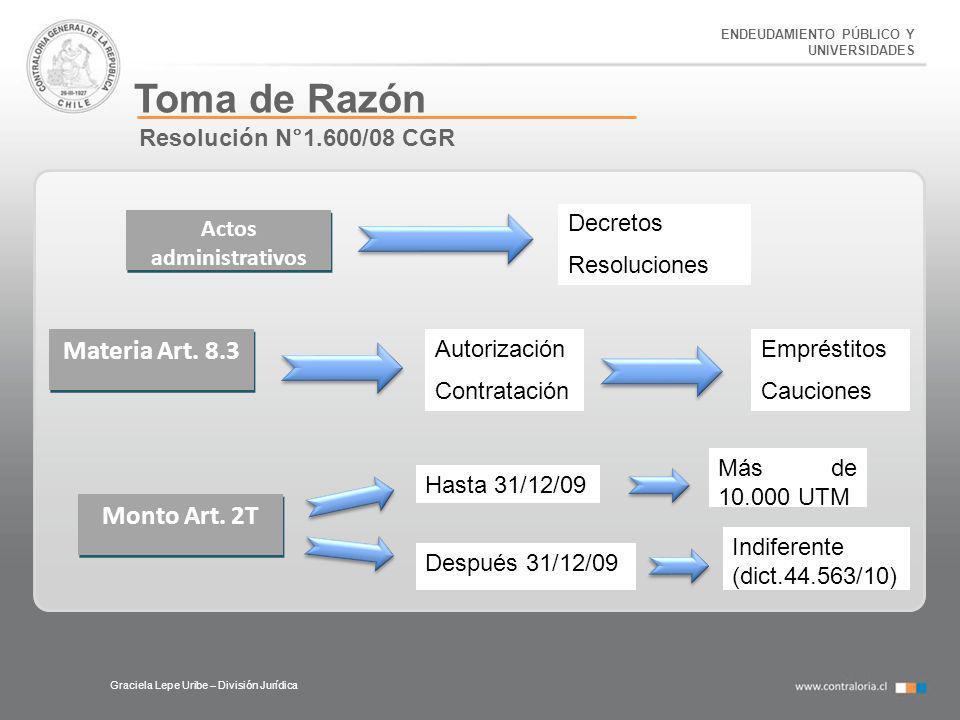 ENDEUDAMIENTO PÚBLICO Y UNIVERSIDADES Toma de Razón Graciela Lepe Uribe – División Jurídica Resolución N°1.600/08 CGR Actos administrativos Decretos R
