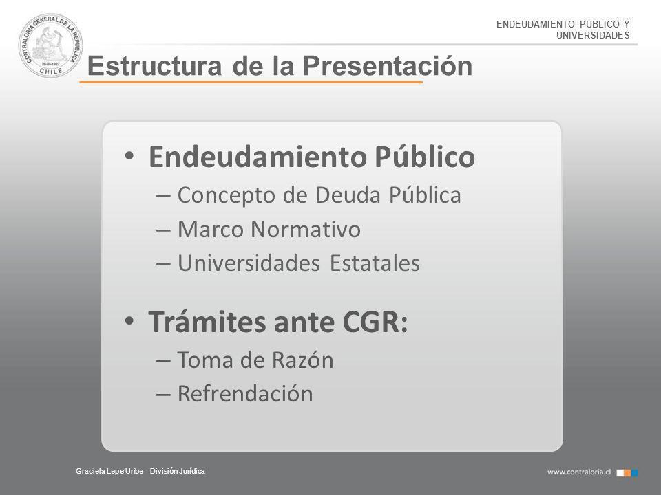 Graciela Lepe Uribe – División Jurídica Estructura de la Presentación Endeudamiento Público – Concepto de Deuda Pública – Marco Normativo – Universida