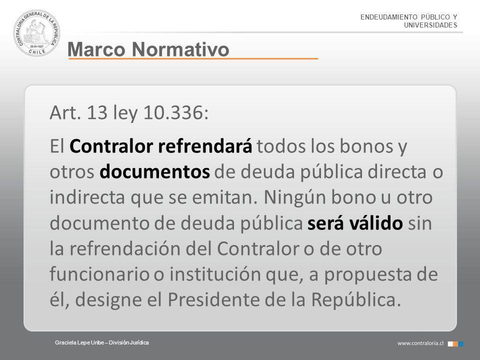 ENDEUDAMIENTO PÚBLICO Y UNIVERSIDADES Marco Normativo Graciela Lepe Uribe – División Jurídica Art. 13 ley 10.336: El Contralor refrendará todos los bo