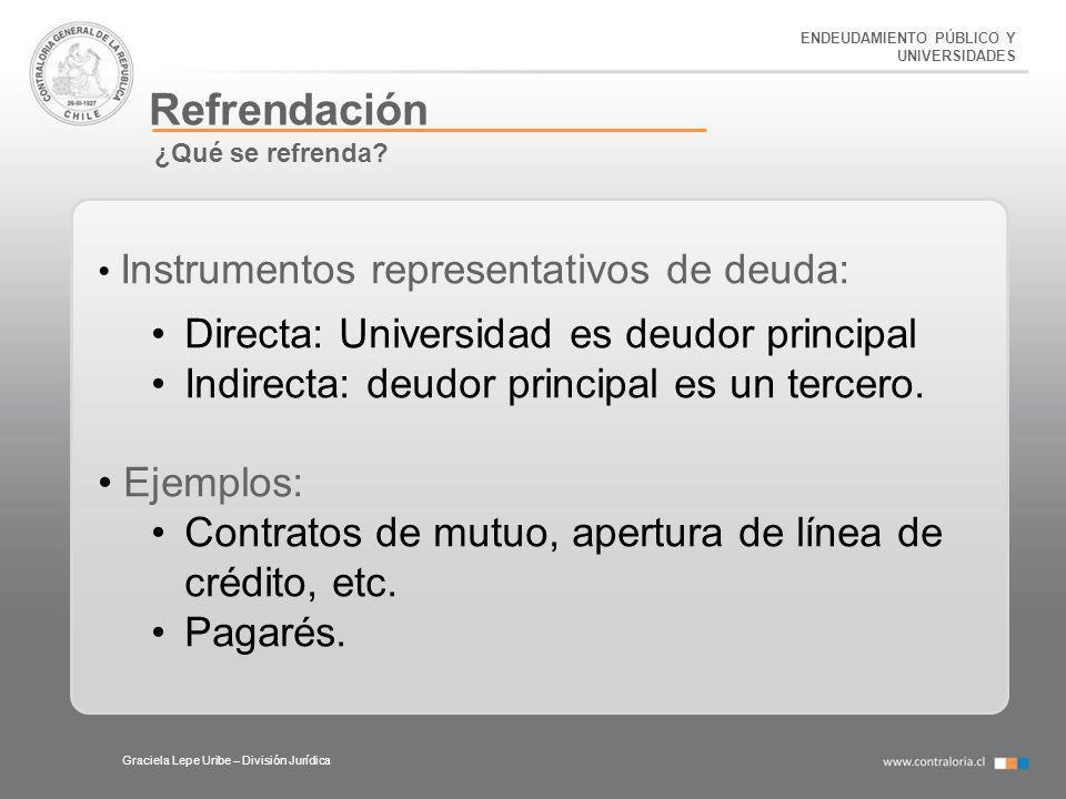 ENDEUDAMIENTO PÚBLICO Y UNIVERSIDADES Refrendación Graciela Lepe Uribe – División Jurídica ¿Qué se refrenda? Instrumentos representativos de deuda: Di