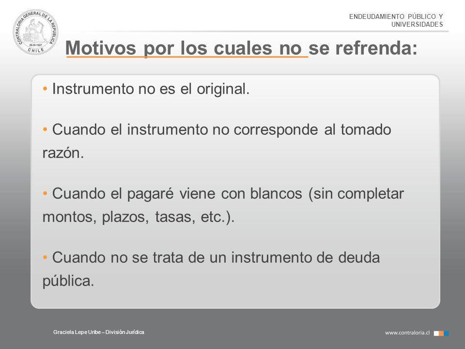 ENDEUDAMIENTO PÚBLICO Y UNIVERSIDADES Motivos por los cuales no se refrenda: Graciela Lepe Uribe – División Jurídica Instrumento no es el original. Cu
