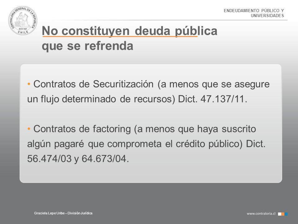 ENDEUDAMIENTO PÚBLICO Y UNIVERSIDADES No constituyen deuda pública que se refrenda Graciela Lepe Uribe – División Jurídica Contratos de Securitización