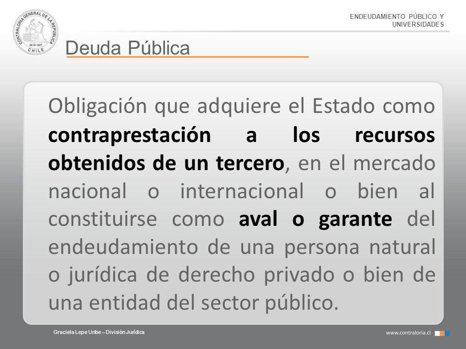 ENDEUDAMIENTO PÚBLICO Y UNIVERSIDADES Deuda Pública Graciela Lepe Uribe – División Jurídica Obligación que adquiere el Estado como contraprestación a