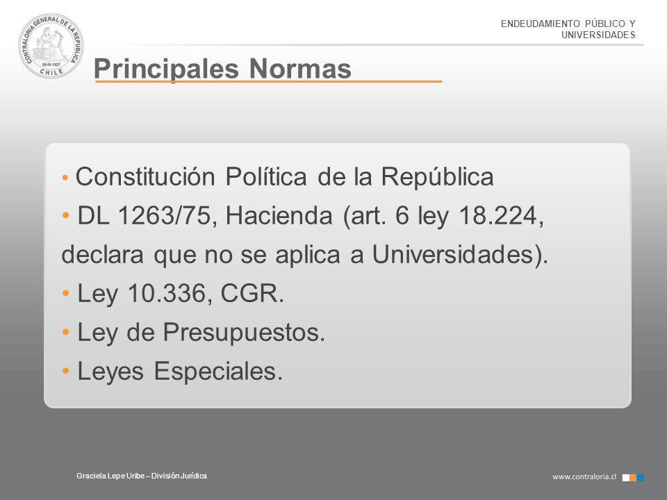 ENDEUDAMIENTO PÚBLICO Y UNIVERSIDADES Principales Normas Graciela Lepe Uribe – División Jurídica Constitución Política de la República DL 1263/75, Hac