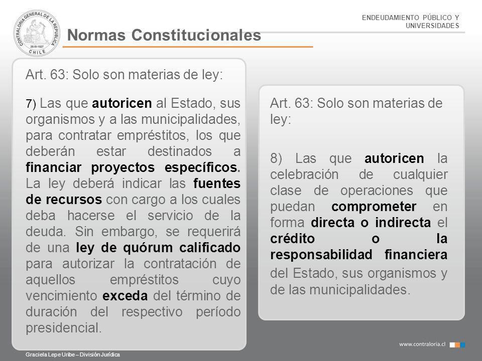 ENDEUDAMIENTO PÚBLICO Y UNIVERSIDADES Normas Constitucionales Art. 63: Solo son materias de ley: 7) Las que autoricen al Estado, sus organismos y a la