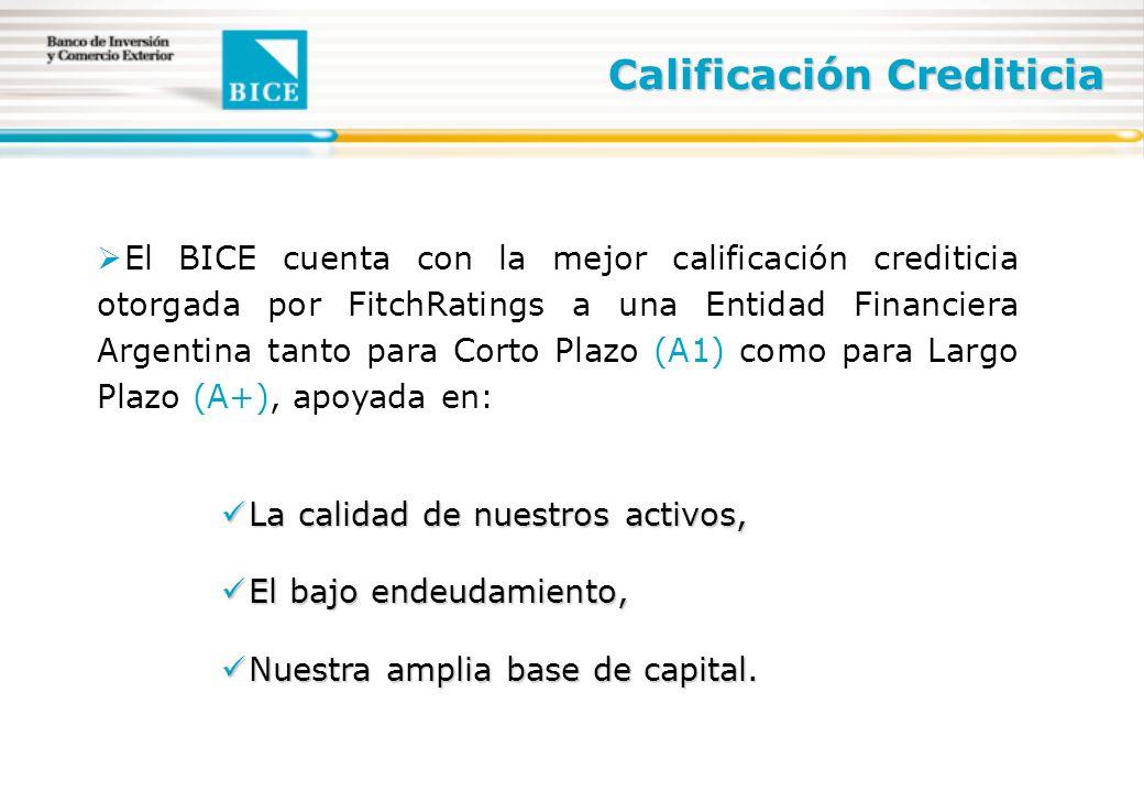 El BICE cuenta con la mejor calificación crediticia otorgada por FitchRatings a una Entidad Financiera Argentina tanto para Corto Plazo (A1) como para Largo Plazo (A+), apoyada en: La calidad de nuestros activos, La calidad de nuestros activos, El bajo endeudamiento, El bajo endeudamiento, Nuestra amplia base de capital.