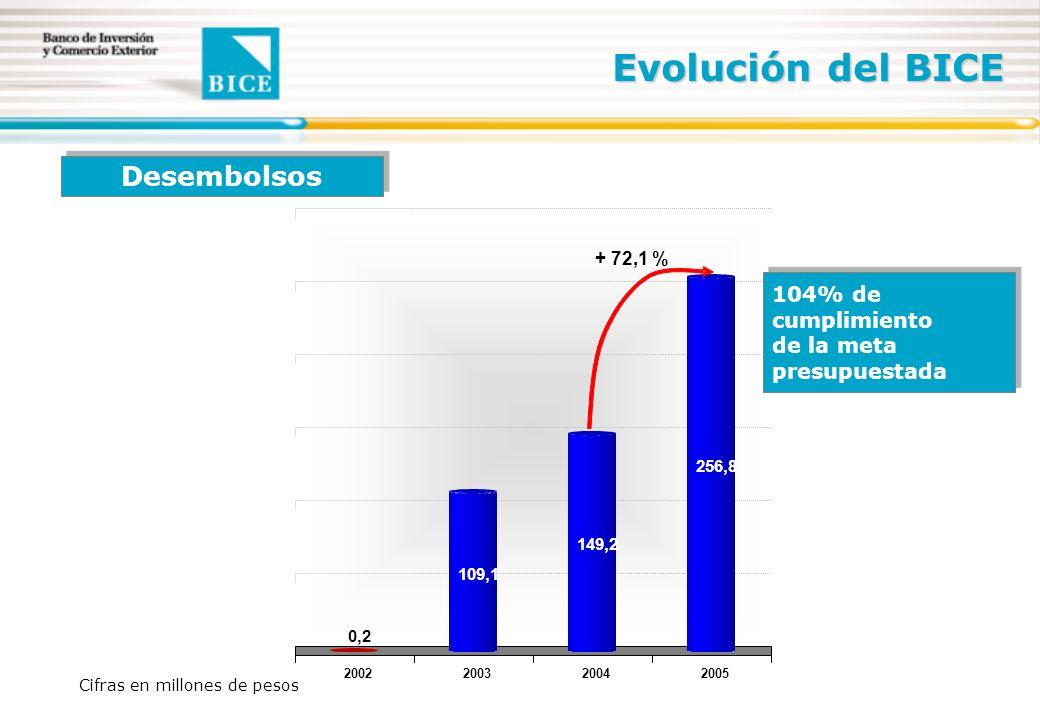 Evolución del BICE Cifras en millones de pesos Desembolsos 2002200320042005 0,2 109,1 149,2 256,8 + 72,1 % 104% de cumplimiento de la meta presupuestada 104% de cumplimiento de la meta presupuestada
