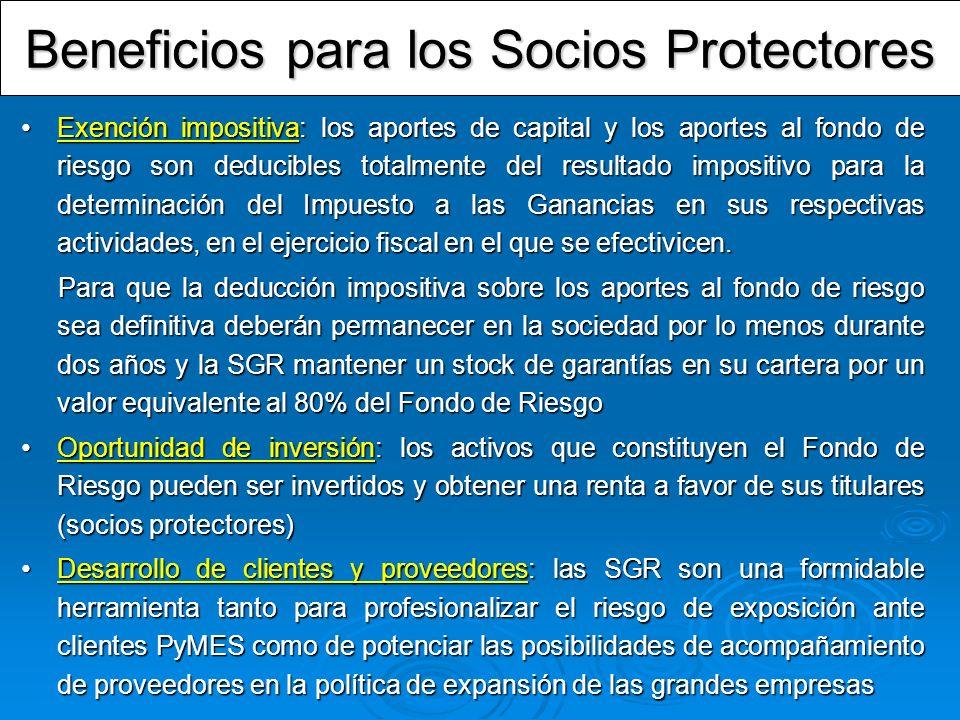 Beneficios para los Socios Protectores Exención impositiva: los aportes de capital y los aportes al fondo de riesgo son deducibles totalmente del resu