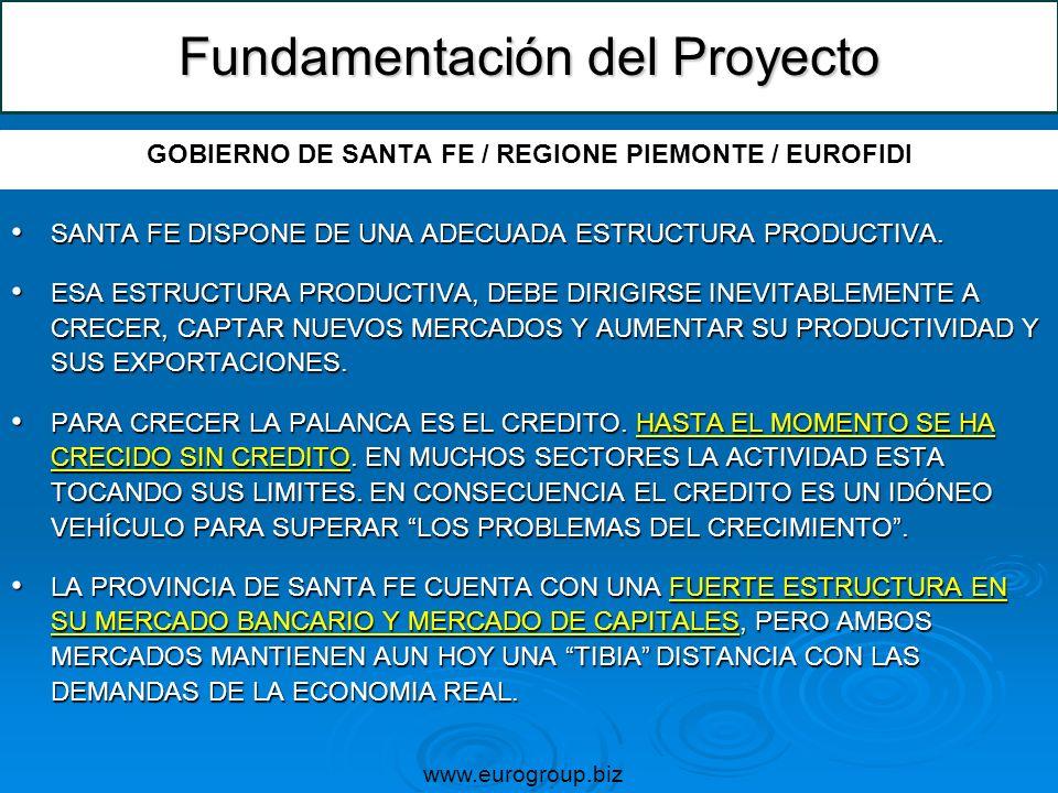 Fundamentación del Proyecto GOBIERNO DE SANTA FE / REGIONE PIEMONTE / EUROFIDI SANTA FE DISPONE DE UNA ADECUADA ESTRUCTURA PRODUCTIVA. SANTA FE DISPON