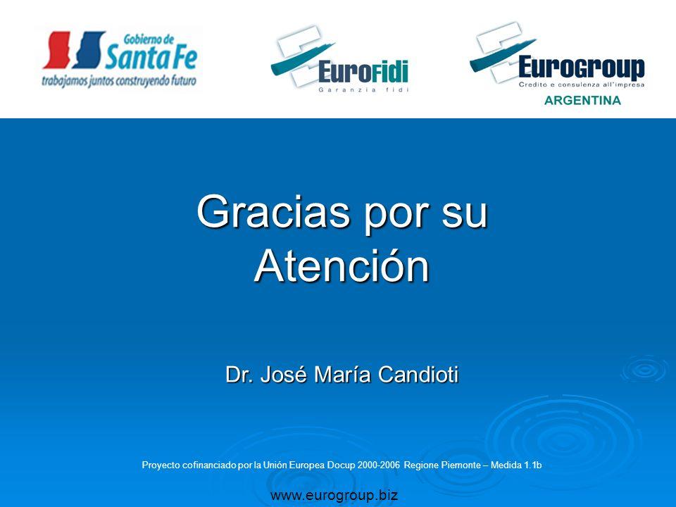 Gracias por su Atención www.eurogroup.biz Proyecto cofinanciado por la Unión Europea Docup 2000-2006 Regione Piemonte – Medida 1.1b Dr. José María Can