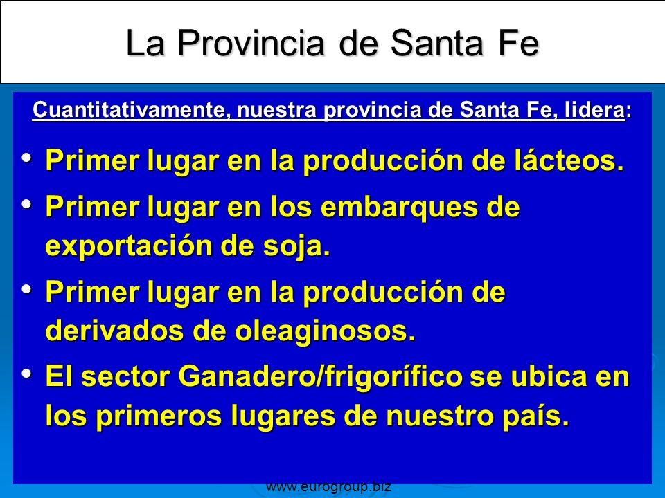 La Provincia de Santa Fe Cuantitativamente, nuestra provincia de Santa Fe, lidera: Primer lugar en la producción de lácteos. Primer lugar en la produc