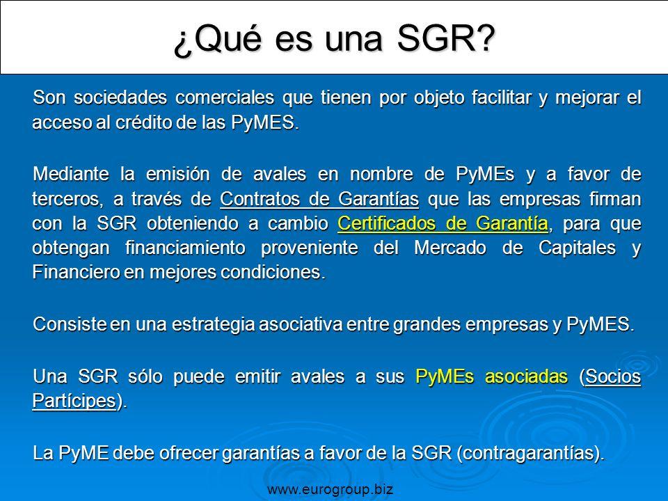 ¿Qué es una SGR? Son sociedades comerciales que tienen por objeto facilitar y mejorar el acceso al crédito de las PyMES. Son sociedades comerciales qu