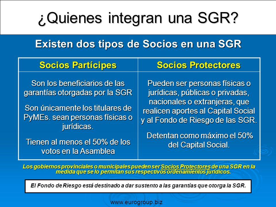 ¿Quienes integran una SGR? Existen dos tipos de Socios en una SGR Los gobiernos provinciales o municipales pueden ser Socios Protectores de una SGR en