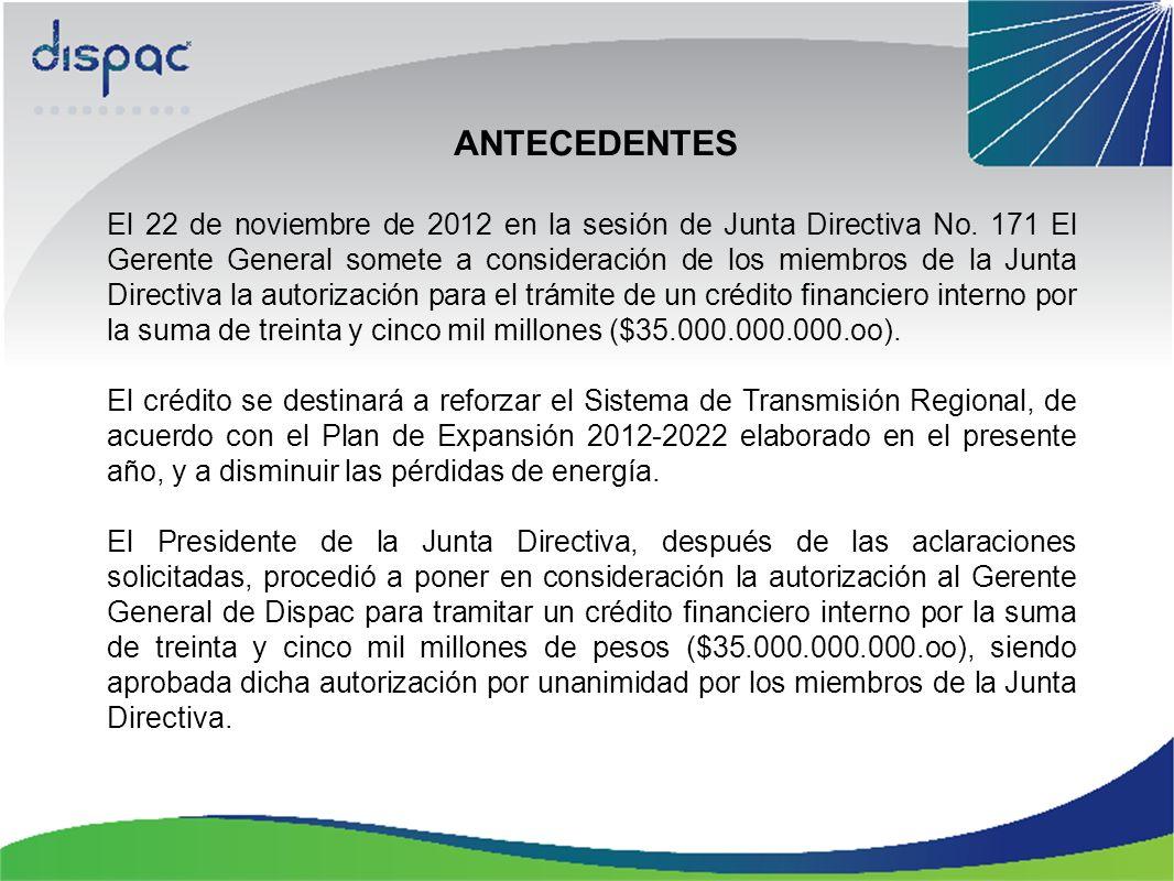 ANTECEDENTES El 22 de noviembre de 2012 en la sesión de Junta Directiva No. 171 El Gerente General somete a consideración de los miembros de la Junta