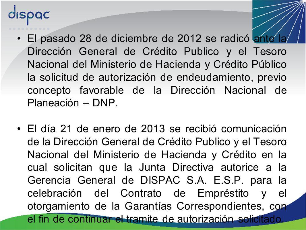 El pasado 28 de diciembre de 2012 se radicó ante la Dirección General de Crédito Publico y el Tesoro Nacional del Ministerio de Hacienda y Crédito Púb