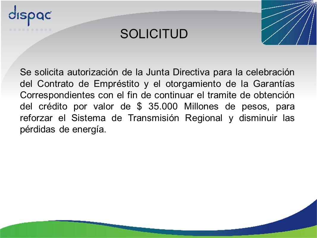 SOLICITUD Se solicita autorización de la Junta Directiva para la celebración del Contrato de Empréstito y el otorgamiento de la Garantías Correspondie