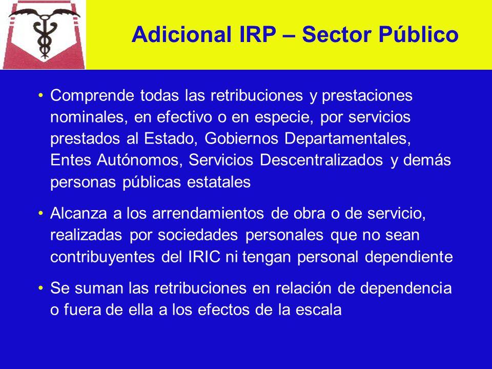 Adicional IRP Se crea un adicional al IRP cuyo destino es el financiamiento del BPS Se establece un régimen diferencial: Sector público Sector privado Se faculta al PE a disminuir las alícuotas a partir del 1° de abril de 2003, y se deroga a partir del 31 de diciembre de 2003