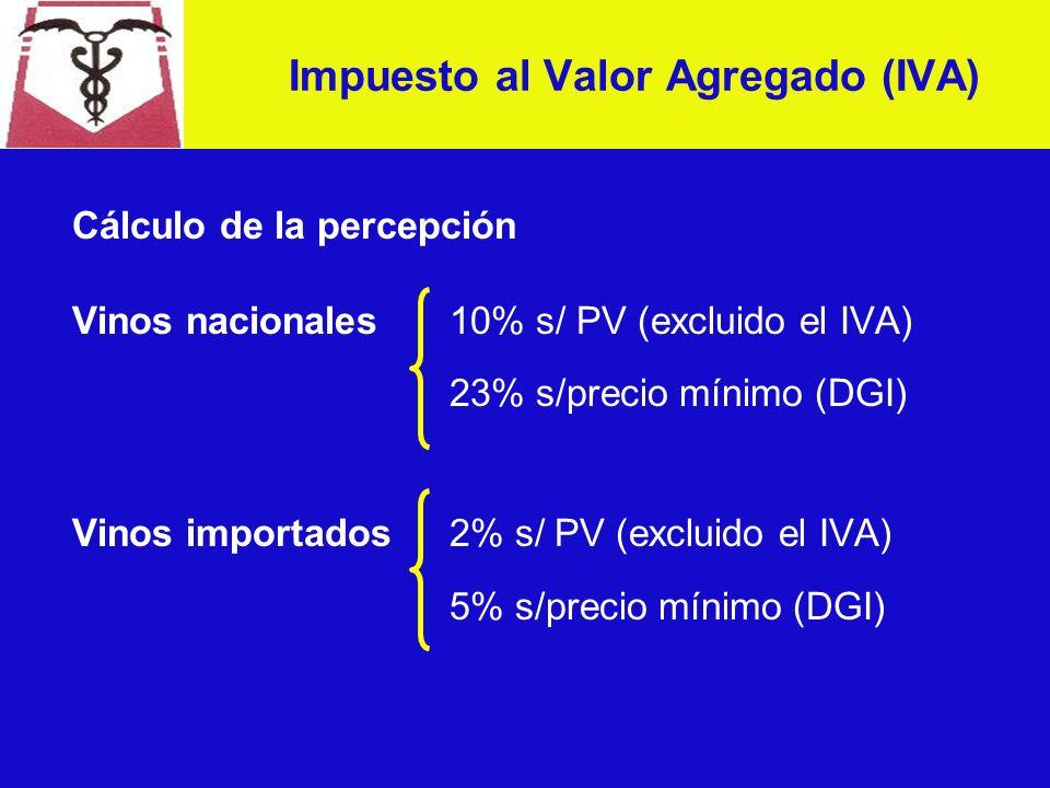 Cálculo de la percepción Vinos nacionales 10% s/ PV (excluido el IVA) 23% s/precio mínimo (DGI) Vinos importados2% s/ PV (excluido el IVA) 5% s/precio mínimo (DGI) Impuesto al Valor Agregado (IVA)