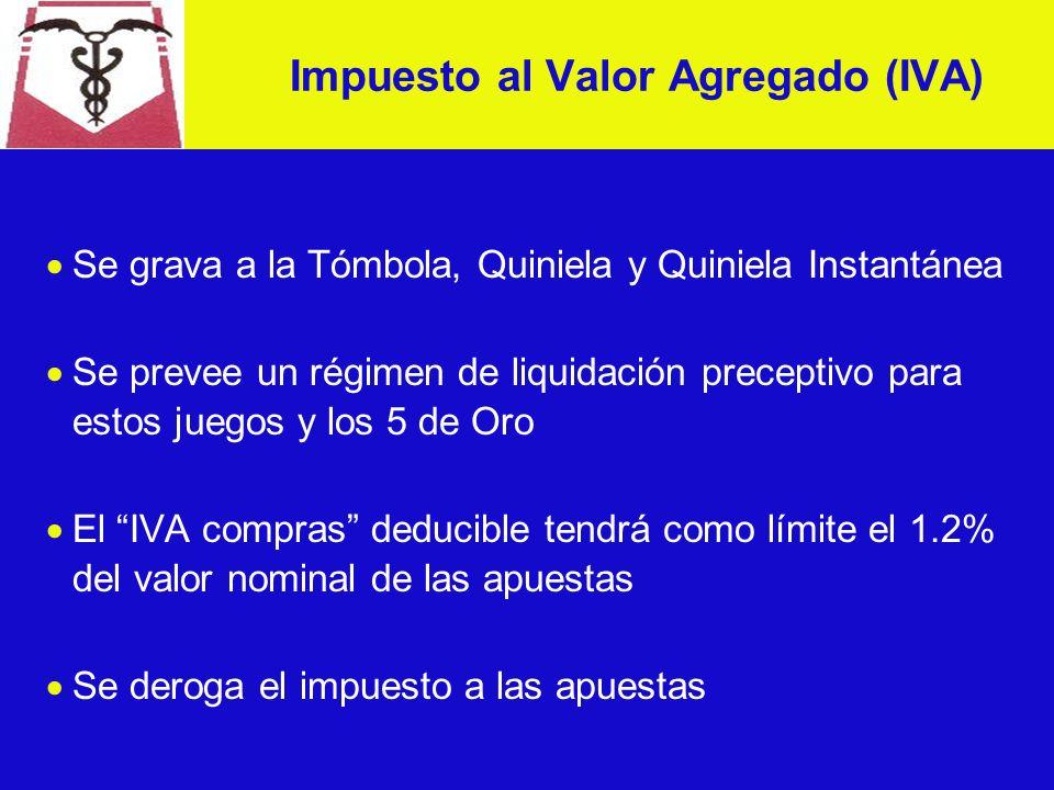 Se grava a la Tómbola, Quiniela y Quiniela Instantánea Se prevee un régimen de liquidación preceptivo para estos juegos y los 5 de Oro El IVA compras deducible tendrá como límite el 1.2% del valor nominal de las apuestas Se deroga el impuesto a las apuestas Impuesto al Valor Agregado (IVA)