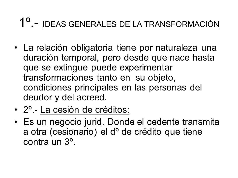 1º.- IDEAS GENERALES DE LA TRANSFORMACIÓN La relación obligatoria tiene por naturaleza una duración temporal, pero desde que nace hasta que se extingu