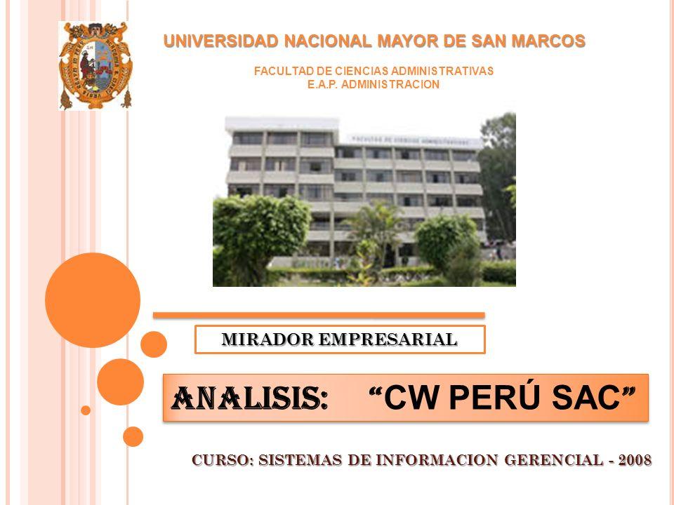 UNIVERSIDAD NACIONAL MAYOR DE SAN MARCOS FACULTAD DE CIENCIAS ADMINISTRATIVAS E.A.P.